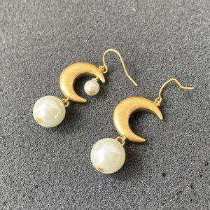Tory Burch Moon Pearl Drop Vintage Earrings